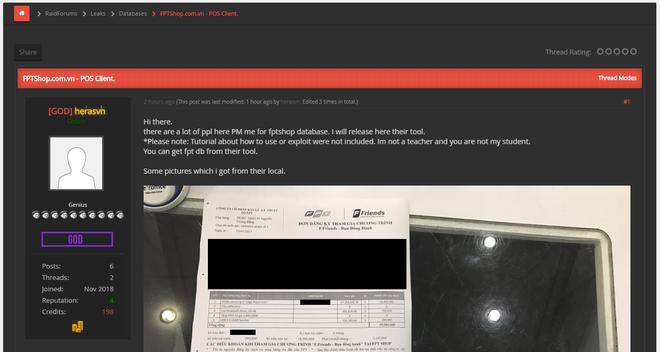 Hacker tiếp tục tung bằng chứng khẳng định mình có trong tay dữ liệu khách hàng FPTShop - Ảnh 1.