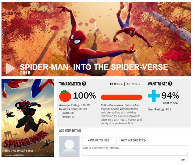 Đạt điểm tuyệt đối, Spider-Man: Into the Spider-Verse là phim Người Nhện hay nhất lịch sử - Ảnh 1.