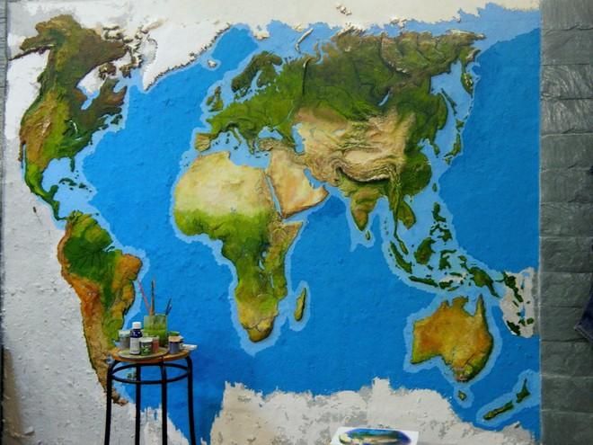 Anh chàng này đã tự làm bản đồ thế giới 3D trên tường chất như nước cất như thế nào? - Ảnh 5.
