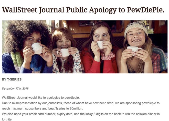 Wall Street Journal bị hack để đăng lời xin lỗi và kêu gọi mọi người subcribe PewDiePie - Ảnh 1.