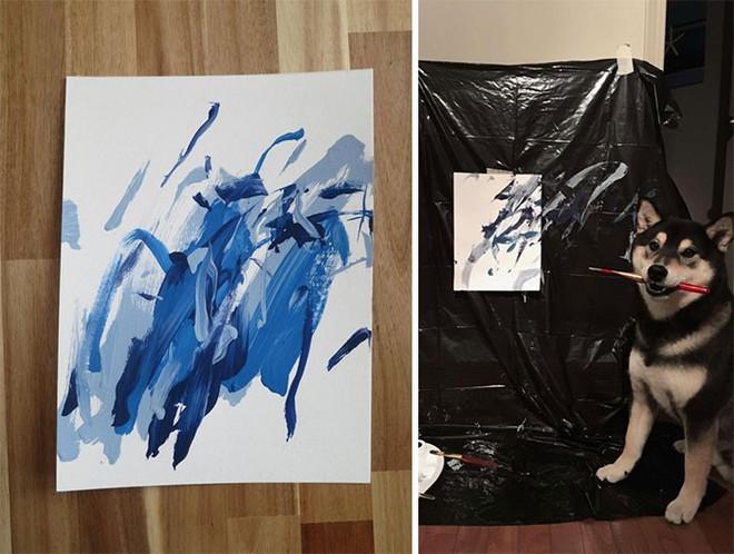 Chú chó shiba giúp chủ kiếm hơn 116 triệu đồng nhờ tài vẽ tranh trừu tượng - Ảnh 8.