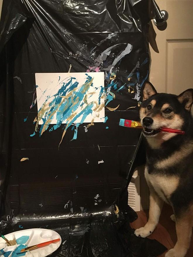 Chú chó shiba giúp chủ kiếm hơn 116 triệu đồng nhờ tài vẽ tranh trừu tượng - Ảnh 11.