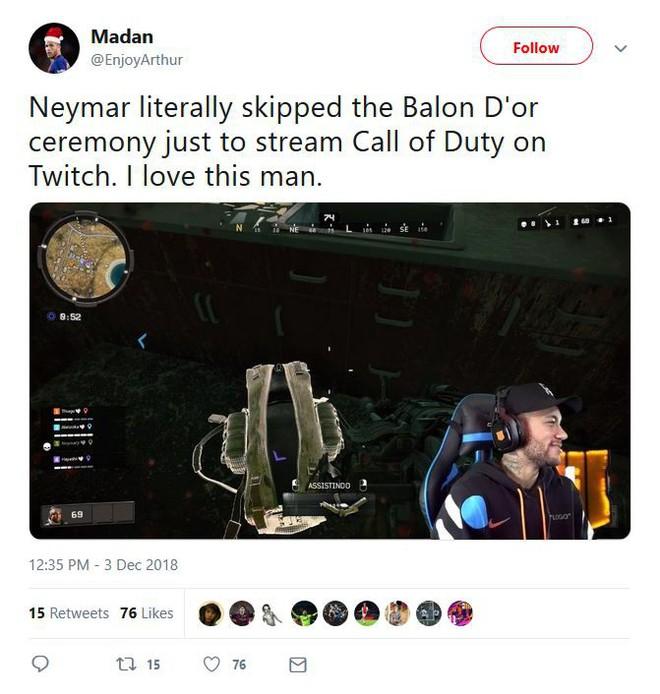 Internet thích thú khi thấy Neymar bỏ lễ trao giải Quả bóng vàng để ở nhà stream Call of Duty trên Twitch - Ảnh 3.