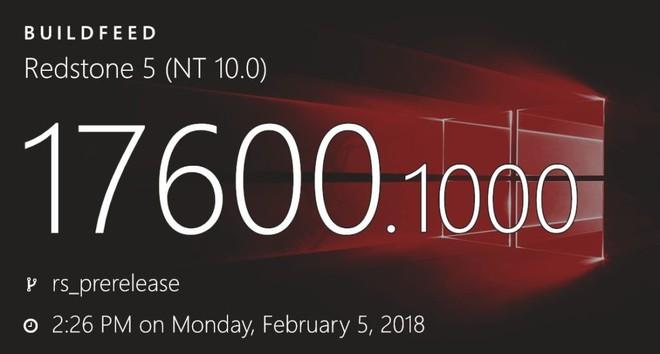 Microsoft đã tiến hình lập trình bản build đầu tiên của Windows 10 Redstone 5.