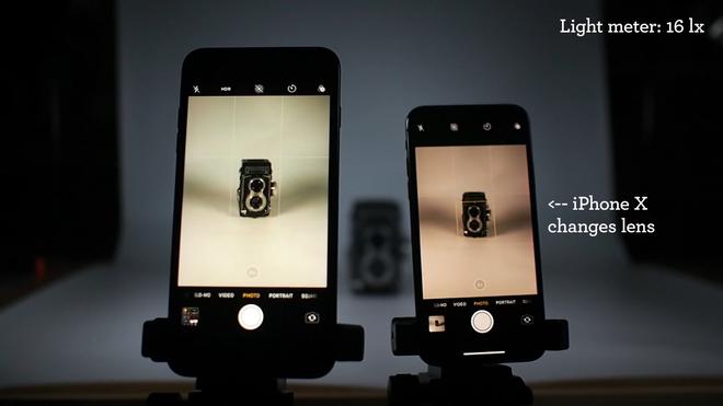 Ống kính tele của iPhone X có thể được kích hoạt ở độ sáng 16 lux, trong khi iPhone 7 Plus cần đến 88 lux