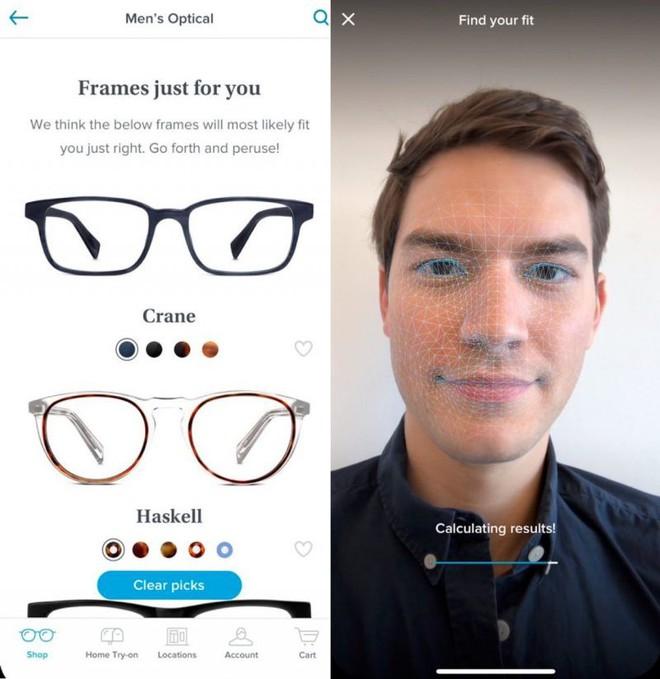 Sử dụng camera TrueDepth, ứng dụng của Warby Parker có thể tìm ra một cặp kính phù hợp nhất với khuôn mặt của người dùng