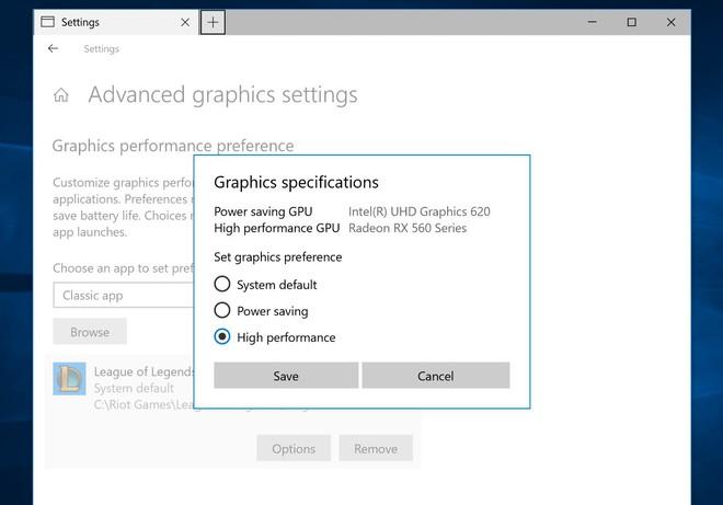 Windows có thể tự động quyết định card đồ họa thích hợp cho mỗi tác vụ cụ thể.