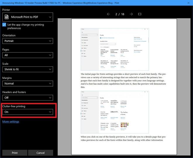 Microsoft Edge được trang bị thêm tính năng hỗ trợ in ấn cực tiện lợi.