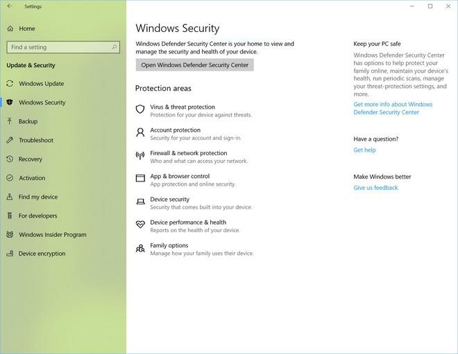 Windows Defender đã trở thành Windows Security trong bản Build lần này.