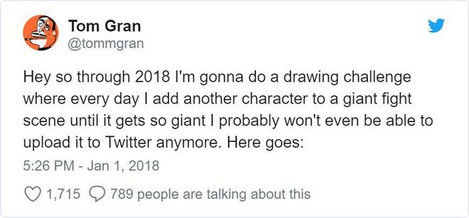 Họa sĩ thử thách chính mình bằng cách mỗi ngày vẽ thêm một nhân vật vào trận hỗn chiến, khi nào ảnh to quá không upload được lên Twitter mới thôi - Ảnh 2.