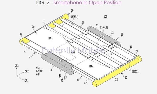 Lộ bằng sáng chế mới về smartphone có thể kéo rộng màn hình của Samsung - Ảnh 1.