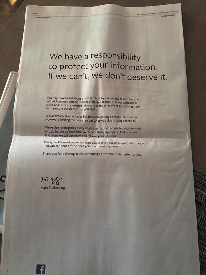 Facebook đăng lời xin lỗi trên hàng loạt tờ báo lớn sau khi để lộ dữ liệu của hơn 50 triệu người dùng.