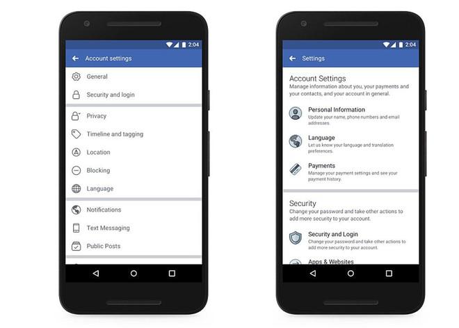 Giao diện cài đặt cũ (trái) và giao diện cài đặt mới (phải) trên thiết bị di động của Facebook