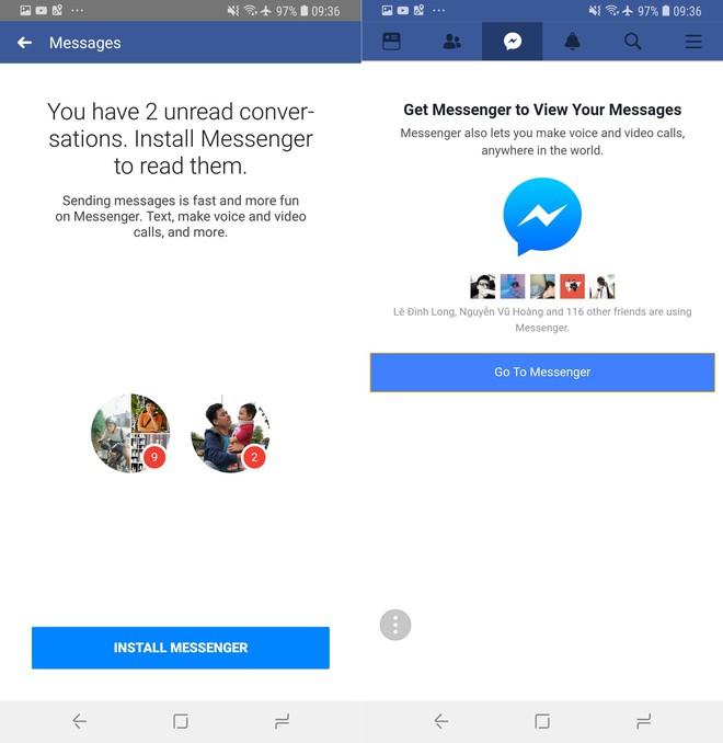 Facebook ép người dùng cài đặt ứng dụng Messenger để nhắn tin