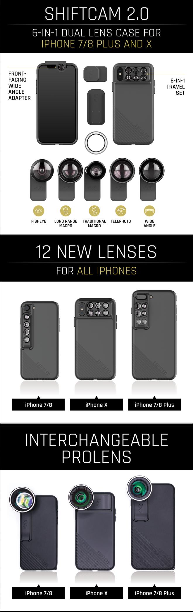 Tất cả các loại ống kính trong bộ Pro Lens được thiết kế riêng cho iPhone 7/8 Plus và iPhone X cho người dùng rất nhiều lựa chọn
