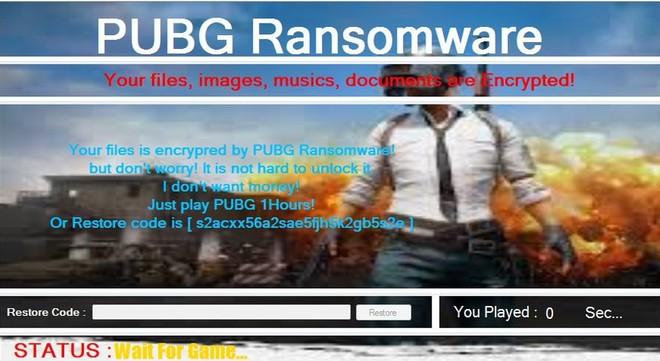 PUBG ransomware yêu cầu người dùng phải chơi game 1 tiếng mới có thể mở khóa dữ liệu.