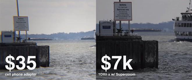 Với giá rẻ hơn nhiều, ống kính zoom dành cho smartphone bị lỗi quang sai cũng như bị soft viền khá nặng
