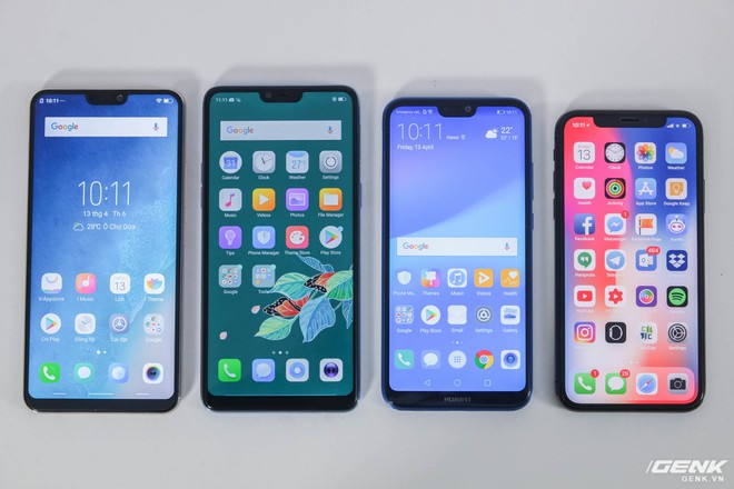Xét đến viền màn hình hai bên, iPhone X thực chất lại là máy có viền dày nhất