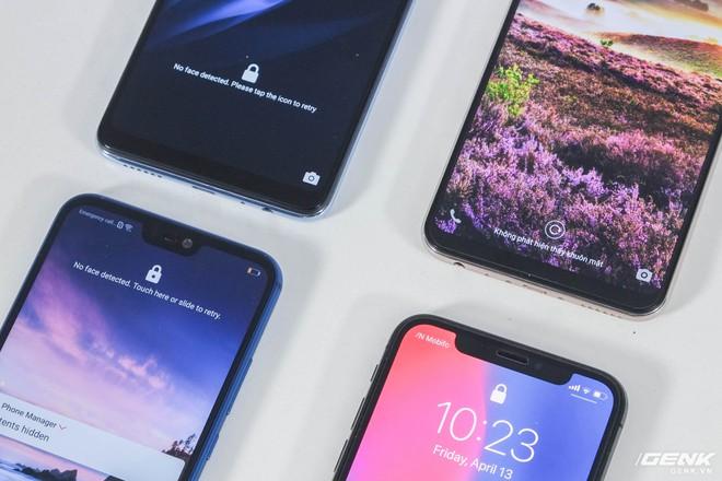 Cả 4 smartphone đều có công nghệ nhận dạng khuôn mặt. Face ID dễ dàng là công nghệ tiên tiến nhất do nó nhanh, bảo mật và hoạt động trong mọi điều kiện ánh sáng. Ba smartphone Android còn lại do chỉ sử dụng camera 2D nên không tốt bằng iPhone X. Mặc dù vậy, đáng khen cho Vivo V9 và Oppo F7 có tốc độ nhận dạng rất nhanh, thậm chí còn nhanh hơn cả iPhone X trong điều kiện lý tưởng