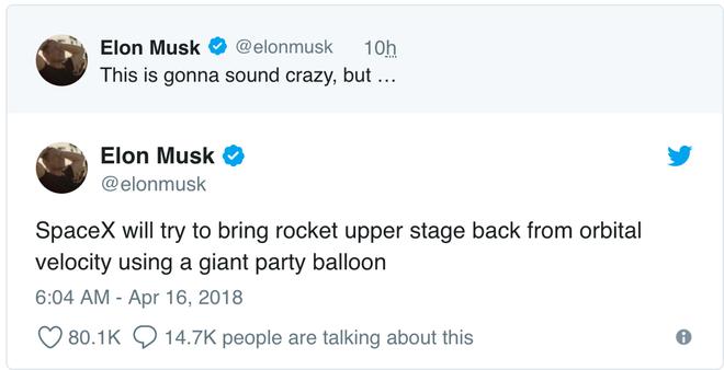 Elon Musk cho biết SpaceX sẽ dùng bóng bay khổng lồ trong các giai đoạn phóng tên lửa - Ảnh 1.