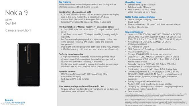 Nokia 9 rò rỉ thông số kỹ thuật với đèn flash Xenon và hệ thống 3 camera - Ảnh 2.