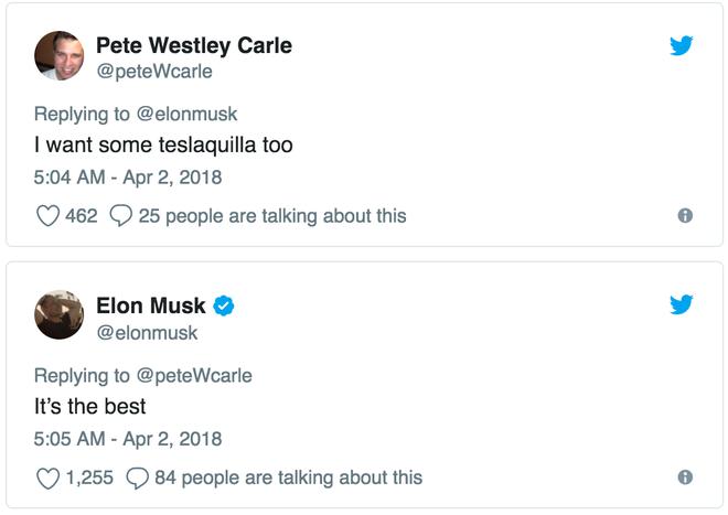Pete: Tôi cũng muốn uống teslaquilla  Elon: Nó là nhất luôn