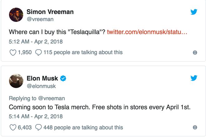 Simon: Tôi mua được Teslaquilla ở đâu?  Elon: Sẽ ra mắt trong loạt merch của Tesla. Uống thử miễn phí tại mọi cửa hàng vào ngày 1/4.