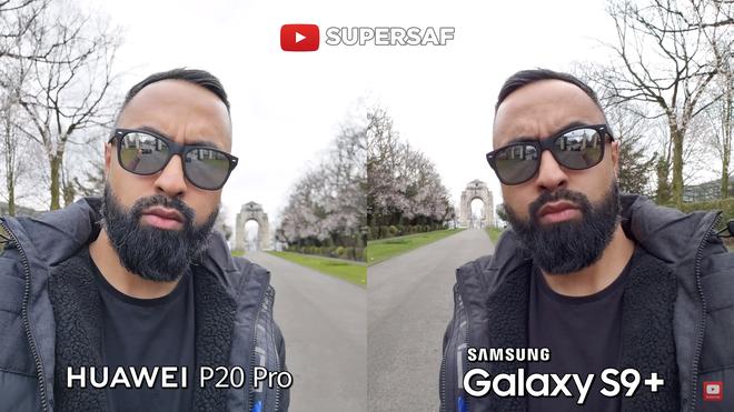 Phần da của chủ thể trên P20 Pro được làm mịn hơn và trắng hơn so với S9+, mặc dù sau đó SuperSaf đã thử tắt tính năng này trên P20 Pro. Do có độ phân giải lớn hơn so với S9+ nên chi tiết trên camera P20 Pro có phần sắc nét hơn, cụ thể là ở phần râu của chủ thể