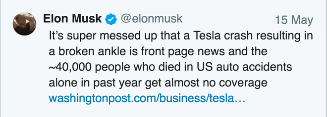 Thật là điên loạn khi mà vụ tai nạn của Tesla gây vỡ mắt cá chân thì bị lên trang nhất của báo đài, và ~40.000 người thiệt mạng trong các vụ tai nạn ô tô chỉ trong năm ngoái thôi thì lại chẳng được đưa tin gì cả.