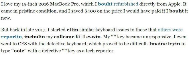Tưởng là sai chính tả nhưng không, bài viết này của Business Insider cho chúng ta thấy bàn phím MacBook Pro mới tệ như thế nào - Ảnh 2.