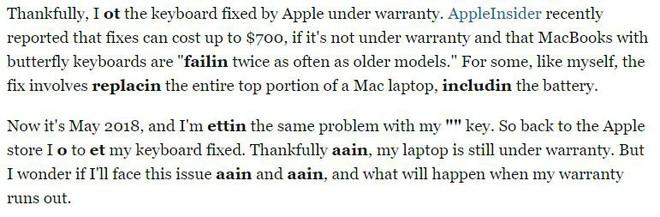 Tưởng là sai chính tả nhưng không, bài viết này của Business Insider cho chúng ta thấy bàn phím MacBook Pro mới tệ như thế nào - Ảnh 3.