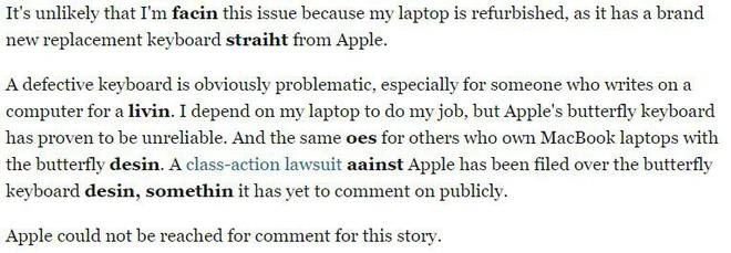 Tưởng là sai chính tả nhưng không, bài viết này của Business Insider cho chúng ta thấy bàn phím MacBook Pro mới tệ như thế nào - Ảnh 4.