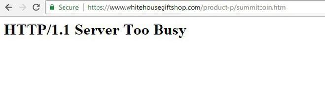 Website cửa hàng Nhà Trắng không thể truy cập vì quá bận.