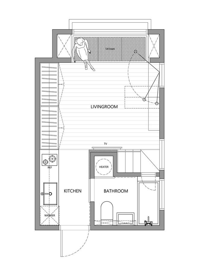 Từng cm được tính toán kỹ càng, căn hộ 22m2 ở Đài Loan trở thành ví dụ điển hình về việc tối đa hóa không gian nhỏ hẹp - Ảnh 20.