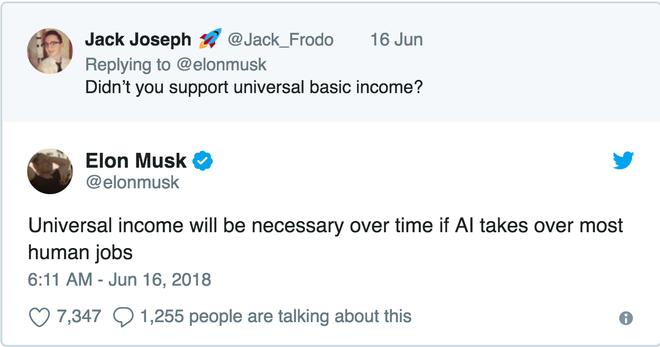 Elon Musk: Nếu robot chiếm hết việc của loài người, việc phân phát tiền miễn phí cho người dân sẽ là cần thiết - Ảnh 1.