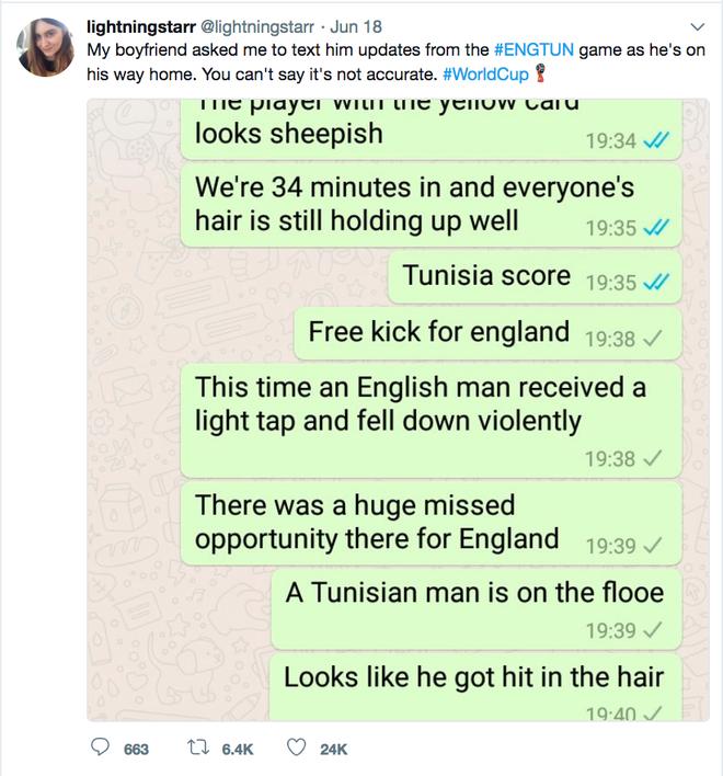 Gấu nhà người ta: Cô bạn gái tường thuật World Cup qua tin nhắn cho bạn trai với một khiếu hài hước tuyệt vời - Ảnh 2.