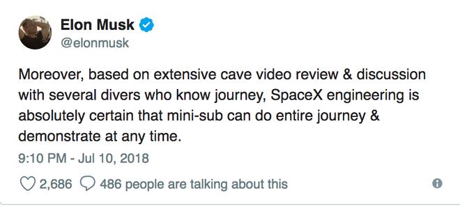 Chiếc tàu ngầm trẻ em dùng để giải cứu đội bóng Thái bị chê là không thực tiễn, Elon Musk lập tức nổi cơn tam bành trên Twitter - Ảnh 2.