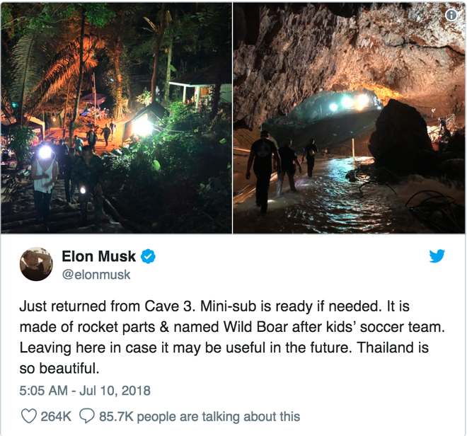 Tweet của Elon Musk từ chuyến thăm Thái Lan