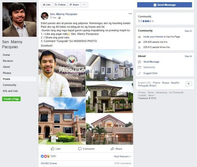 Hứa hẹn tặng 60 ngôi nhà, trang Facebook Manny Pacquiao giả mạo khiến dân mạng Philippines điên đảo - Ảnh 1.