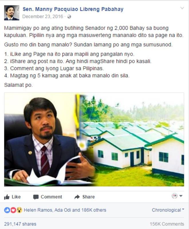 Hứa hẹn tặng 60 ngôi nhà, trang Facebook Manny Pacquiao giả mạo khiến dân mạng Philippines điên đảo - Ảnh 5.