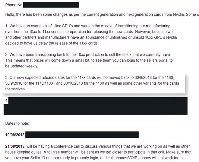 Lộ email xác nhận thế hệ GTX 11-series sẽ ra mắt vào cuối tháng 8 này, bắt đầu với GTX 1180 - Ảnh 1.