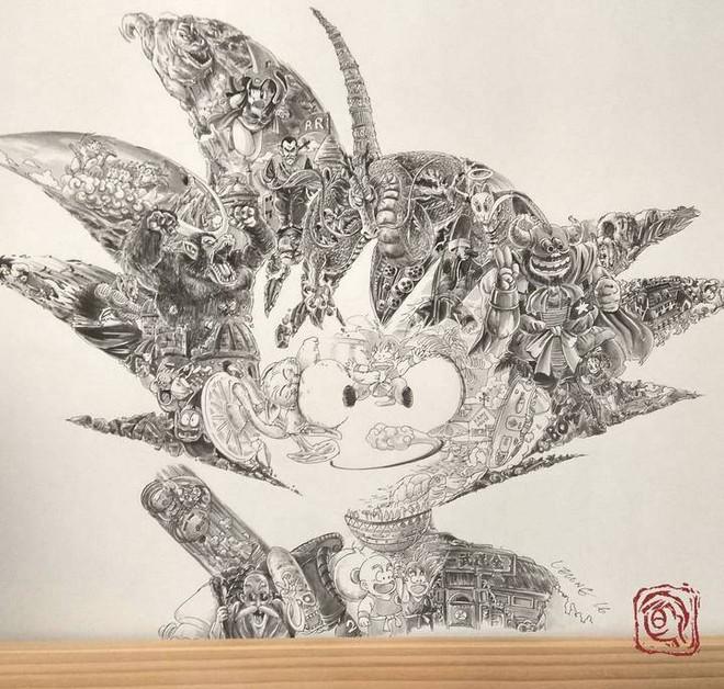 Toàn bộ nhân vật trong bộ truyện Dragon Ball đều gói gọn trong bức chân dung bé Son Goku, bạn nhìn ra được bao nhiêu người xuất hiện? - Ảnh 1.