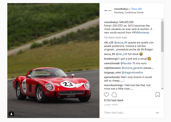 Ferrari 250 GTO đời 1962 được bán với giá 48,4 triệu USD, lập kỷ lục thế giới về đấu giá siêu xe cổ - Ảnh 1.