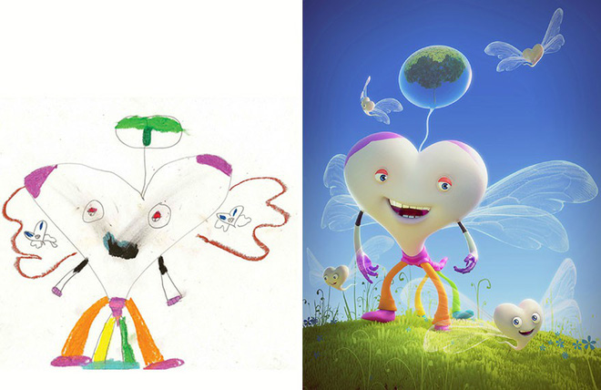 [Ảnh] Chiêm ngưỡng những tác phẩm độc đáo, kỳ lạ của trẻ em khi được chấp bút bởi họa sĩ chuyên nghiệp - Ảnh 12.