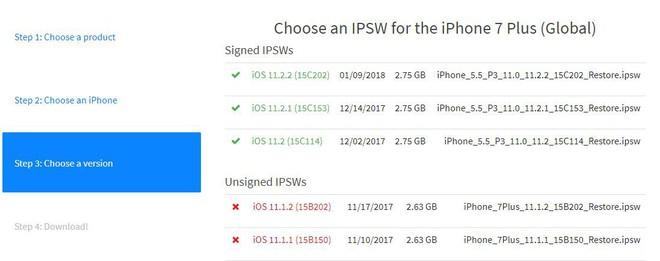 Các bạn có thể kiểm tra phiên bản iOS mà máy hỗ trợ tại bước thứ 3 và download những phiên bản bạn mong muốn tại bước thứ 4.