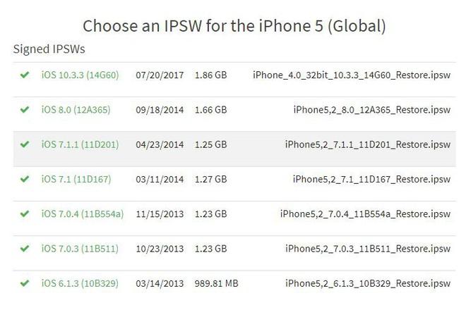iPhone 5 vẫn có thể hạ tối đa xuống phiên bản iOS 6.1.3.
