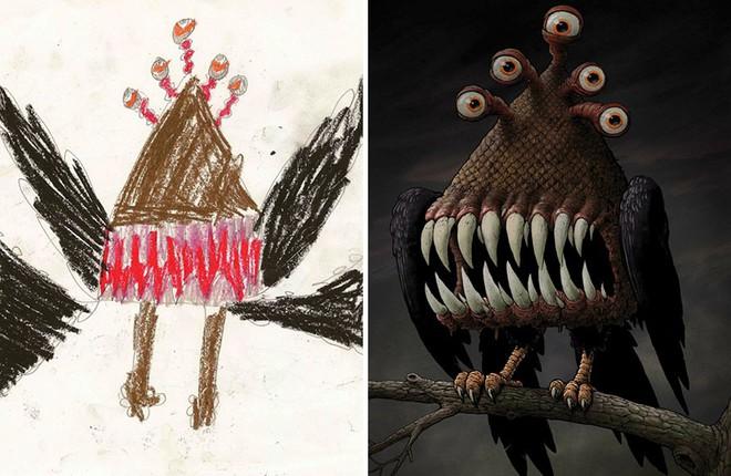 [Ảnh] Chiêm ngưỡng những tác phẩm độc đáo, kỳ lạ của trẻ em khi được chấp bút bởi họa sĩ chuyên nghiệp - Ảnh 3.