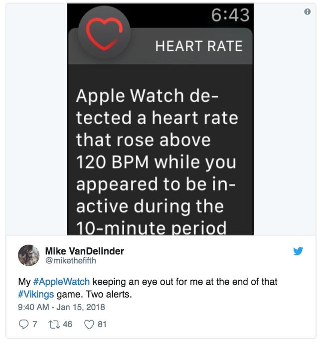 Chiếc Apple Watch cảnh báo cho tôi vào cuối trận Vikings. Hai lần liền.