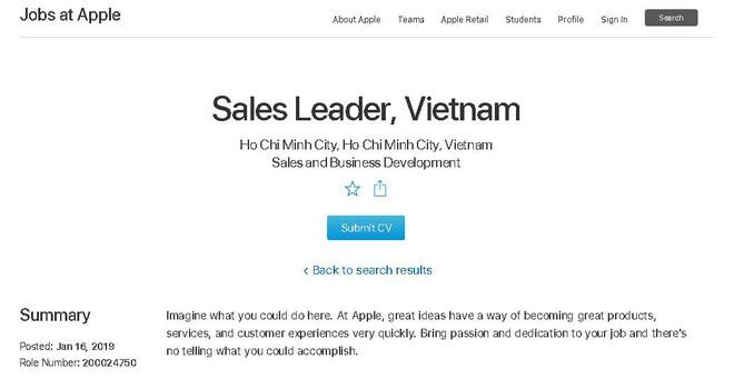 Apple đang tuyển vị trí giám đốc bán hàng tại Việt Nam - Ảnh 1.
