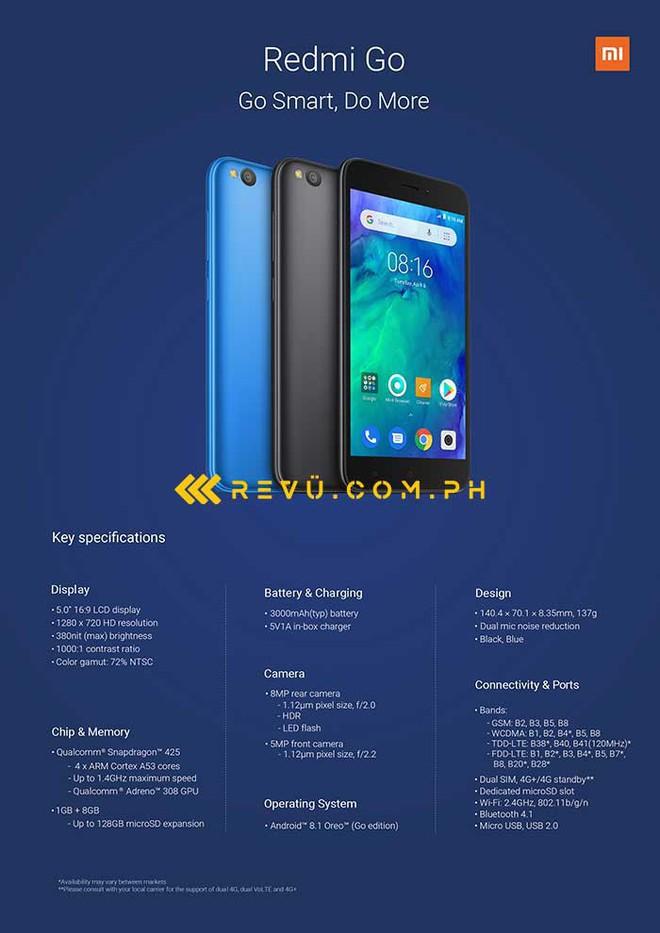 Redmi Go, smartphone Android Go đầu tiên của Xiaomi lộ diện: Snapdragon 425, RAM 1GB, ROM 8GB, pin 3000mAh - Ảnh 1.